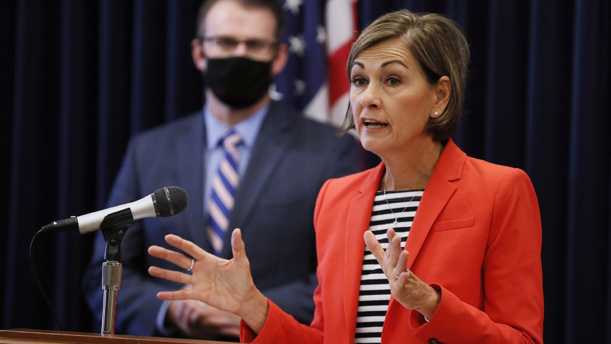 Iowa Gov. Kim Reynolds speaks at a news conference on the state's guidance for returning to...
