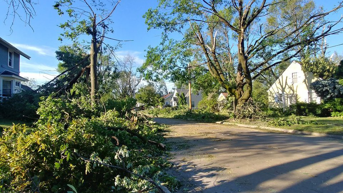 This picture shows damage in NE Cedar Rapids from the derecho that hit eastern Iowa on Monday.