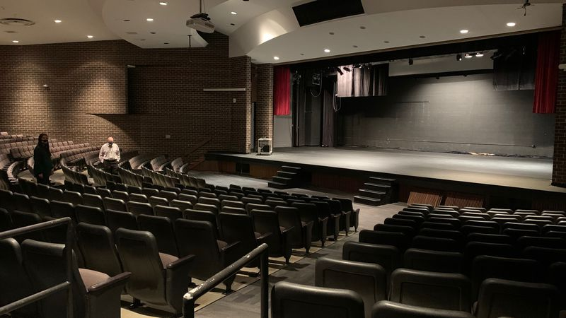 The Kennedy High School auditorium, pictured on Jan. 6, 2021, has a repaired roof and newly...
