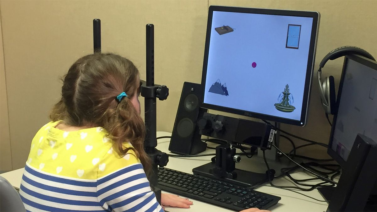 A child participates in an eye-tracking exercise as part of a University of Iowa study into how children learn words (Taylor Holt/KCRG)