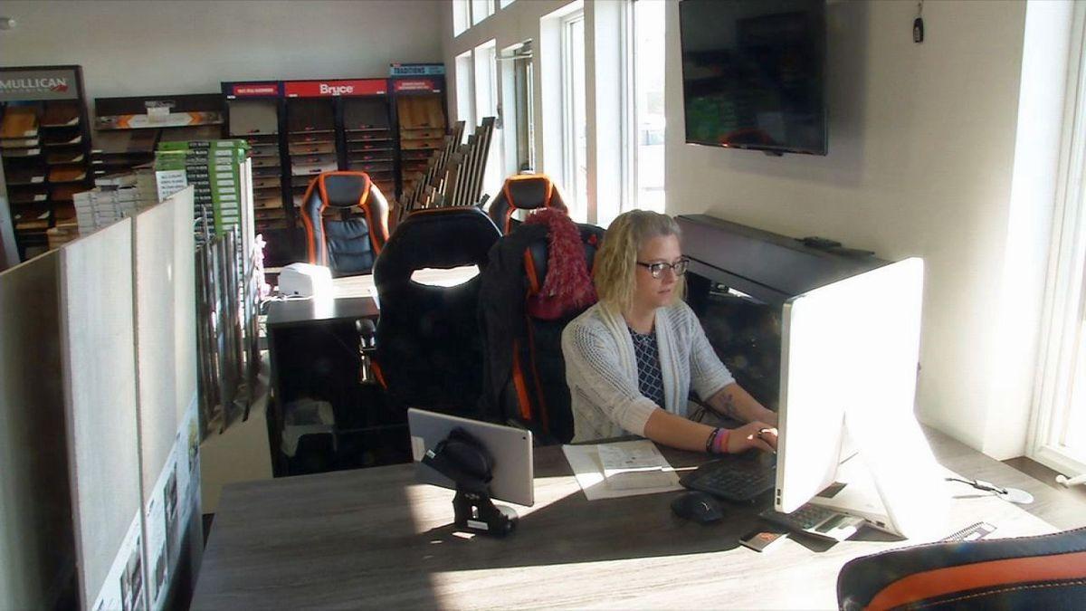 Belinda Spaeth works at Stoneking Enterprises in North Liberty in an undated photo (Jackie Kennon/KCRG).