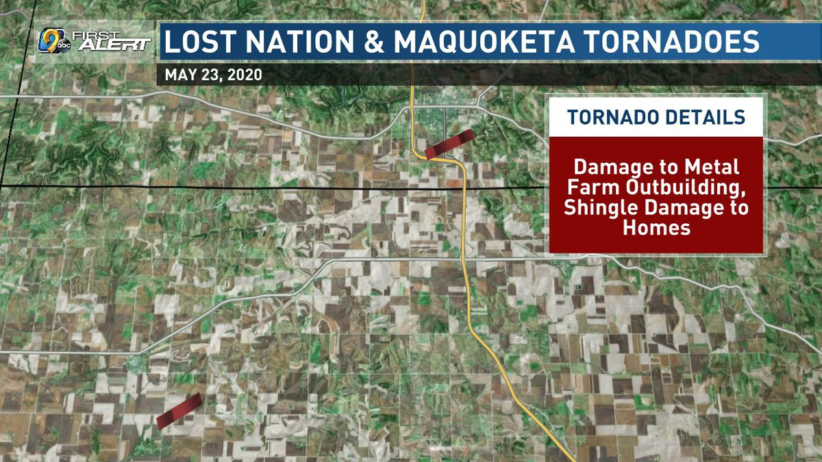 Approximate paths of two tornadoes that took place in Clinton and Jackson Counties on Saturday, May 23, 2020. (KCRG)