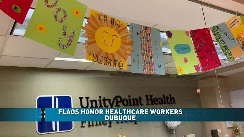 Flags honor healthcare workers in Dubuque