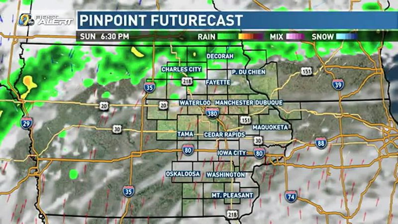 Scattered storms are possible north, late.