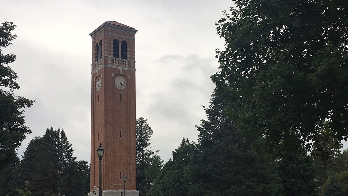 The campanile on the University of Northern Iowa campus on August 26, 2019. (Mary Green/KCRG)