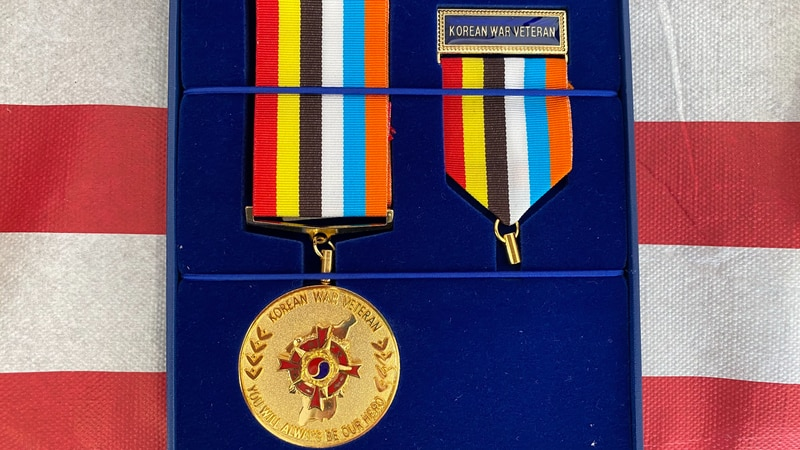 Korean Ambassador of Peace medal presented to the family of Private Paul Albaugh of Linn...