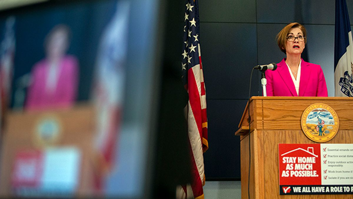Iowa Gov. Kim Reynolds holds a news conference on COVID-19 at the State Emergency Operations Center in Johnston, Iowa, Friday, April 3, 2020. (Olivia Sun/The Des Moines Register via AP, Pool)