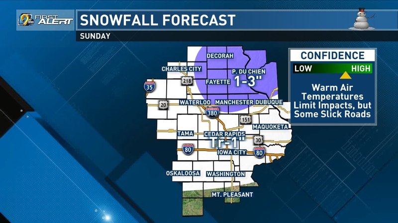Potential snowfall accumulations for Sunday, Dec. 27, 2020. The totals in northeast Iowa will...