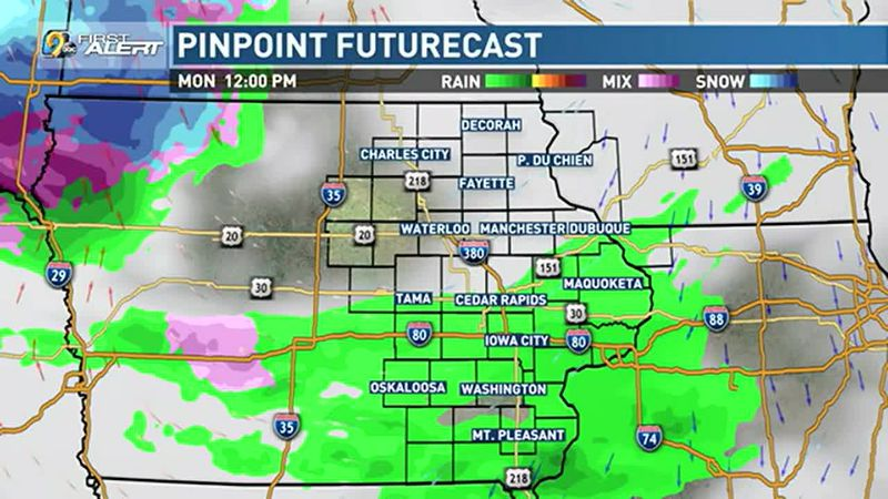 Chance of showers with a few snowflakes mixed in for Monday.
