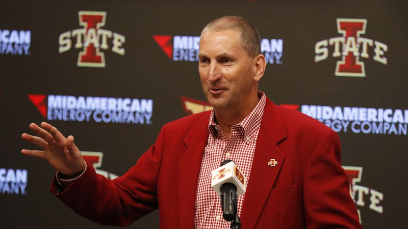 FILE - In this Aug. 1, 2018, file photo, Iowa State Athletic Director Jamie Pollard speaks...