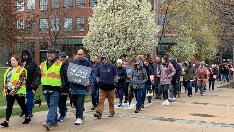 """People participated in the """"Second Chance Walk"""" in Cedar Rapids on April 25, 2021."""