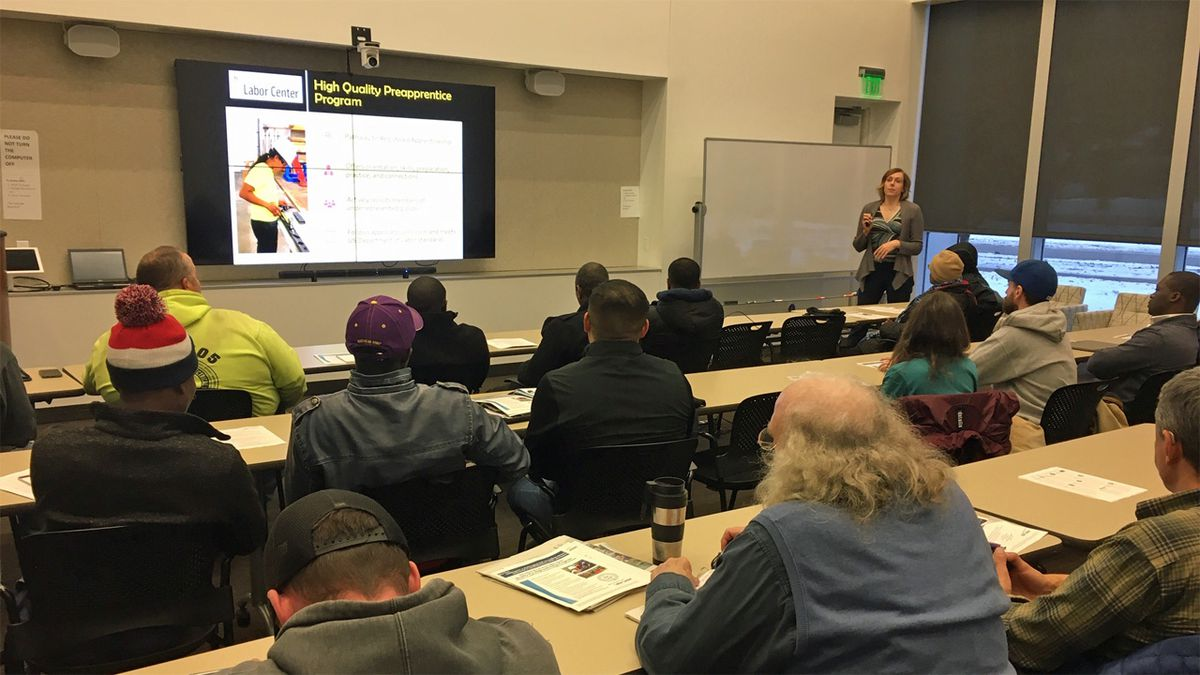 "University of Iowa Labor Center Director Jennifer Scherer explains the center's new ""Quality Pre-Apprenticeship Program"" on Wednesday, Nov. 13, 2019 (Mary Green/KCRG)"