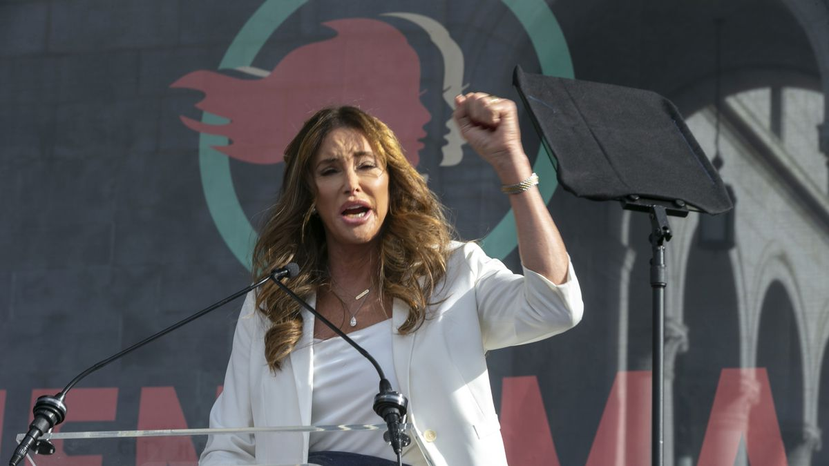 FILE - In this Jan. 18, 2020, file photo Caitlyn Jenner speaks at the 4th Women's March in Los...
