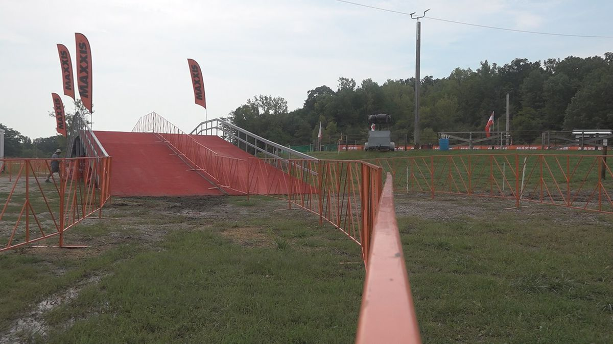 The Cyclocross course at the Johnson County Fairgrounds was still under construction on Wednesday, September 11, 2019- but organizers said it will be done in time with plenty of obstacles like this large ramp when it's time to ride Friday night. (Aaron Scheinblum/KCRG)