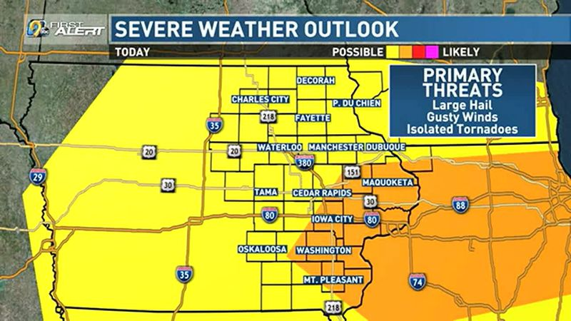 A severe weather threat is present on Sunday.