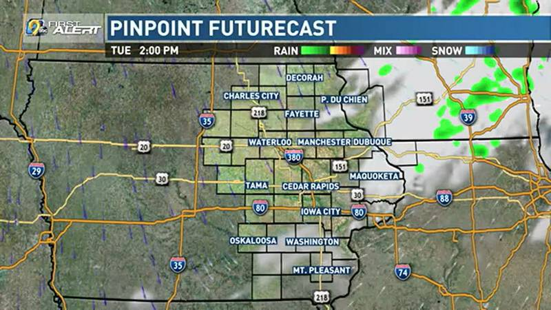 A cold front approaches on Tuesday.
