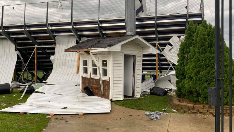 Damage to Husky Stadium in Oelwein after a tornado hit nearby on July 14, 2021.