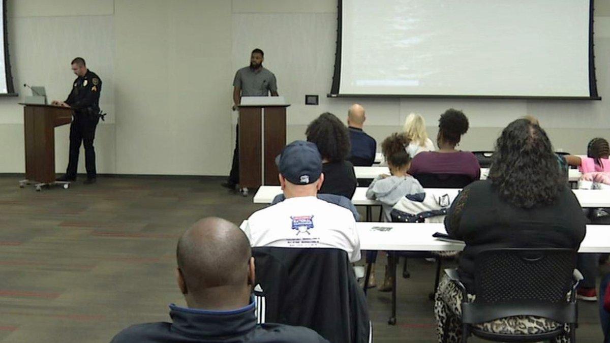 "Brandon Jackson explains ""Project My CITY"" at a meeting at the Cedar Rapids Public..."