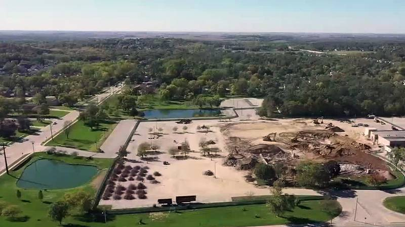 An aerial view of a property in northeast Cedar Rapids that was the former home to offices...