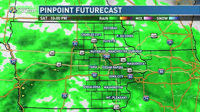 Rain increases later on Saturday.