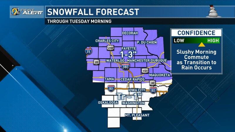 Expected snowfall accumulation in eastern Iowa for late Monday, Nov. 23., through early...