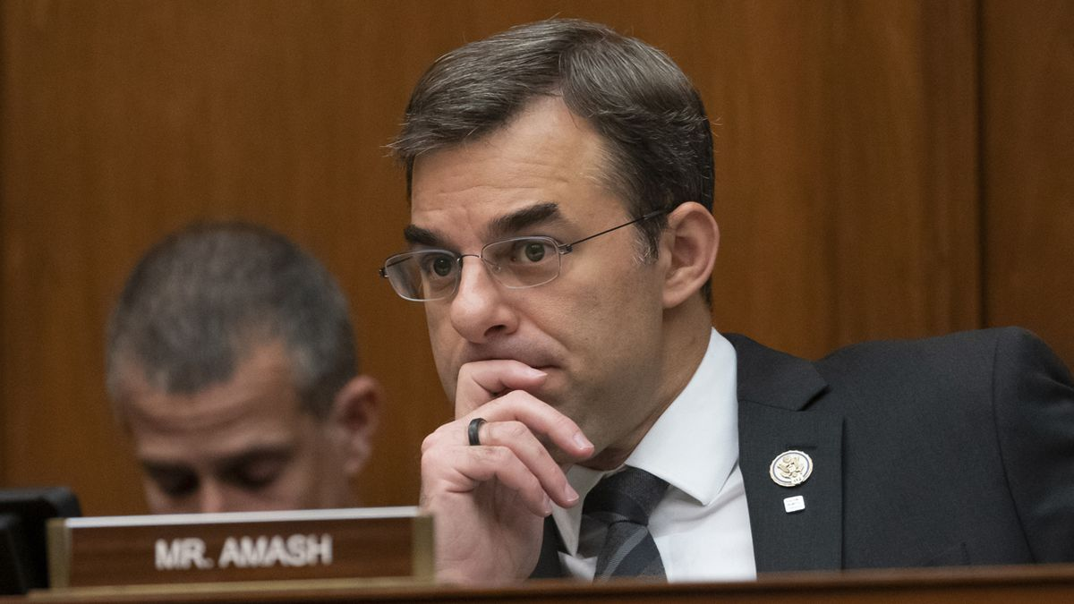 FILE - In this June 12, 2019 file photo, Rep. Justin Amash, R-Mich., listens to debate on the...