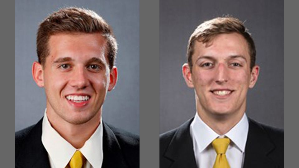 Jordan Bohannon, left, and Jack Nunge, right, players on the University of Iowa Hawkeyes men's basketball team. Both were granted an extra year of eligibility on a hardship waiver by the Big Ten Conference on Tuesday, May 12, 2020. (Courtesy: University of Iowa Athletics)