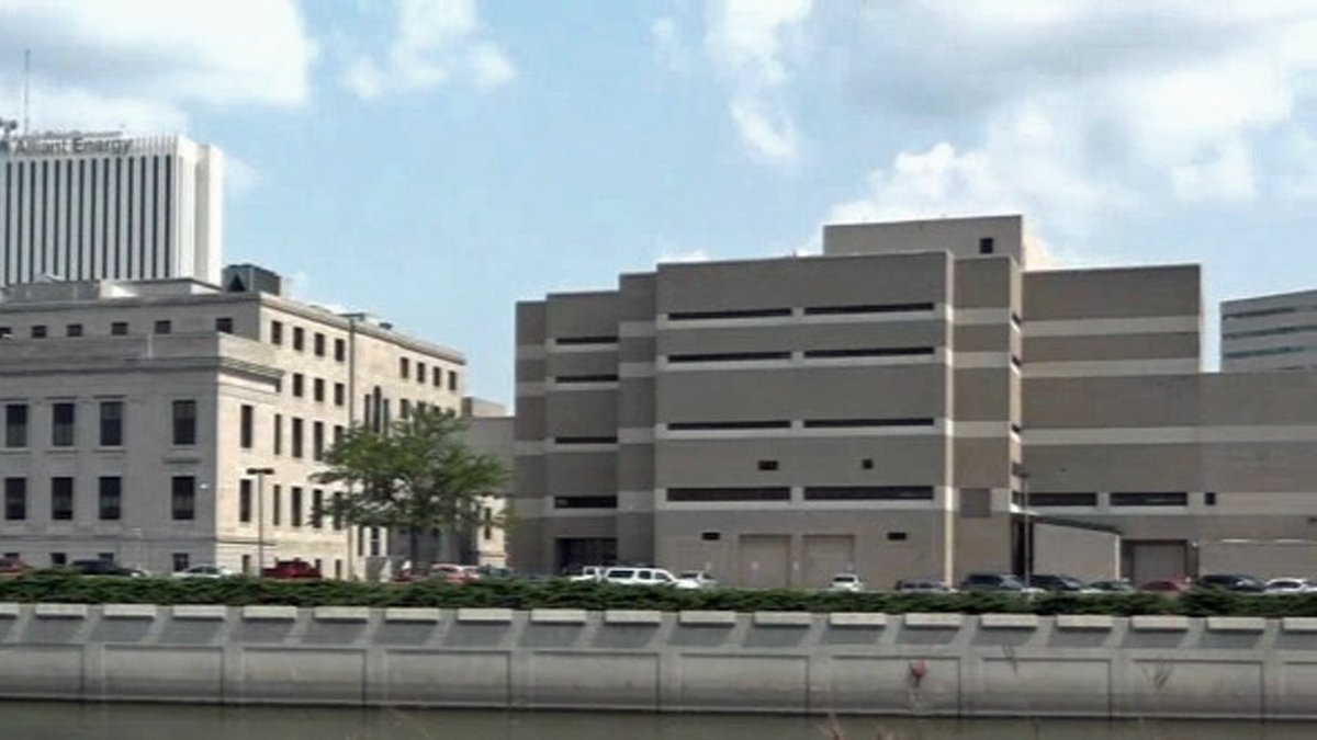 The Linn County Jail, right, seen from across the Cedar River in an undated file photo. (KCRG...