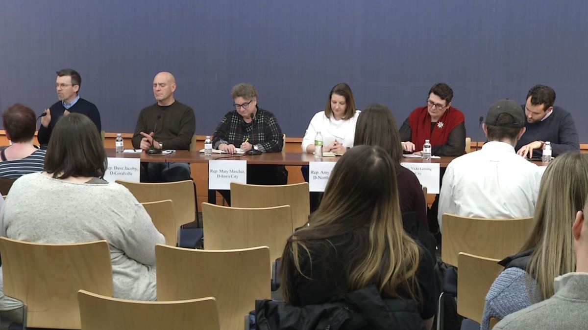 Six Democratic legislators from Johnson County answered questions at a legislative session preview forum in Iowa City on Dec. 8, 2019. (MARY GREEN/KCRG)