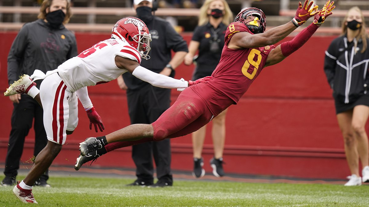 Iowa State wide receiver Xavier Hutchinson (8) makes a diving attempt to catch the ball ahead...