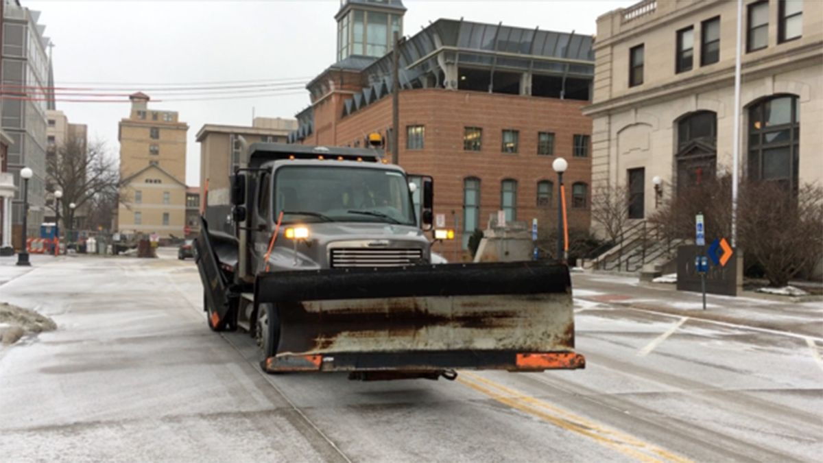 A snow plow for the city of Iowa City in downtown in an undated photo.