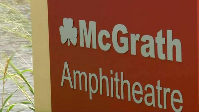 A sign at the McGrath Amphitheatre in Cedar Rapids.