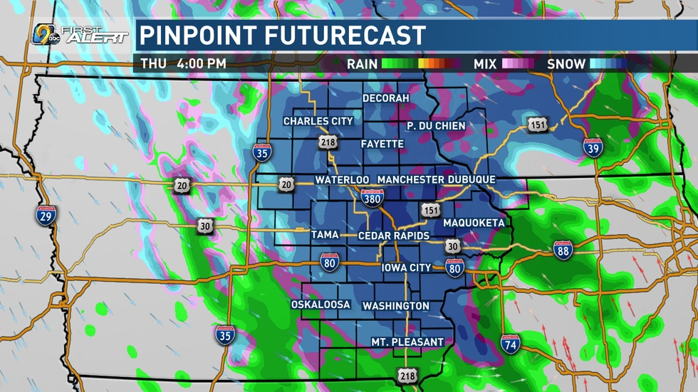 Plan on a mix of freezing rain, sleet and snow to move in from the west as the morning goes on.