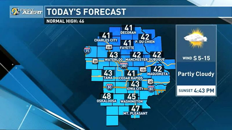 Today will be our coolest day of the rest of the week. Highs will be in the low 40s throughout...