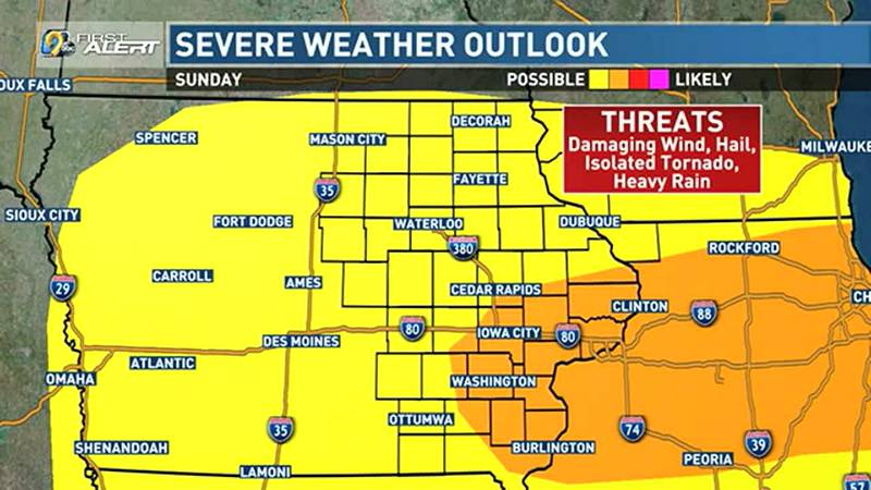 Another round of storms is expected to fire along the trailing cold front Sunday afternoon,...