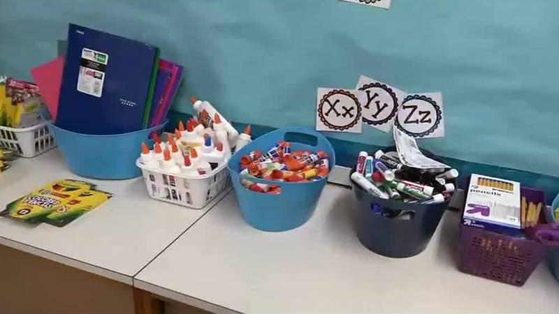 School supplies in baskets as school begins again in Dubuque.