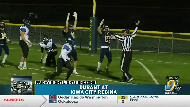 Iowa City Regina heads into the playoffs undefeated with a 34-16 win over Durant