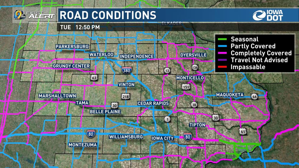 Road conditions as of 12:50 p.m. 1/26