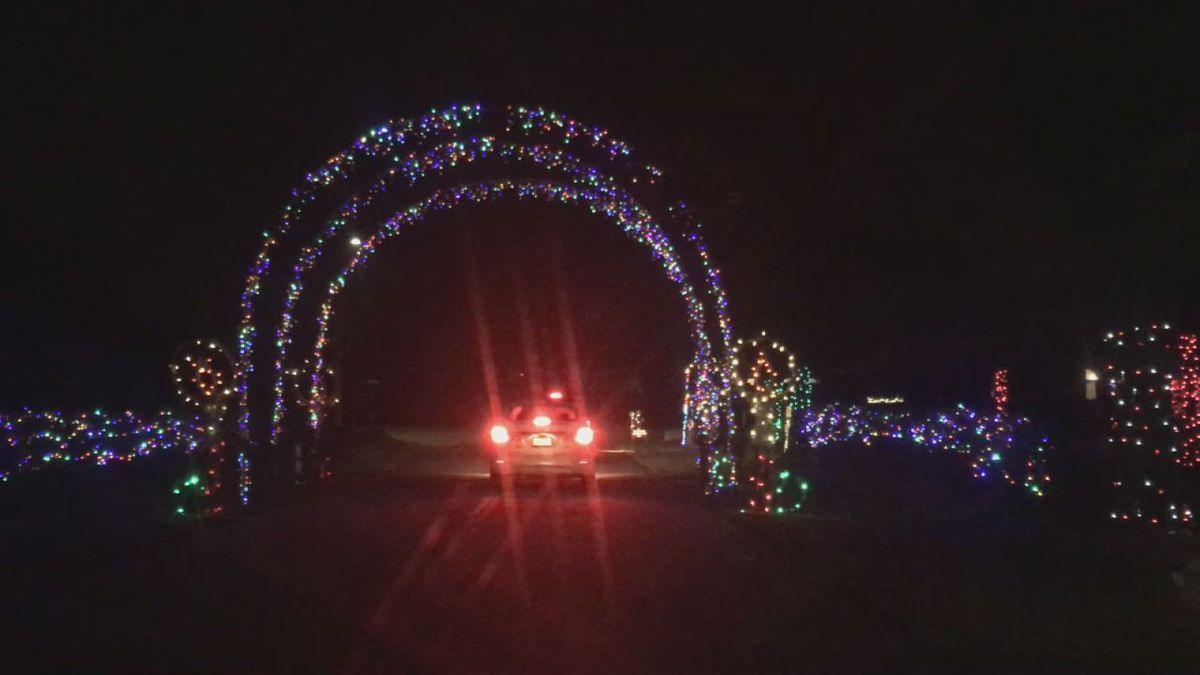 Lighted arches mark the entrance of the Festival of Lights in West Union on opening night, Friday, Nov. 29, 2019. (Aaron Scheinblum/KCRG)