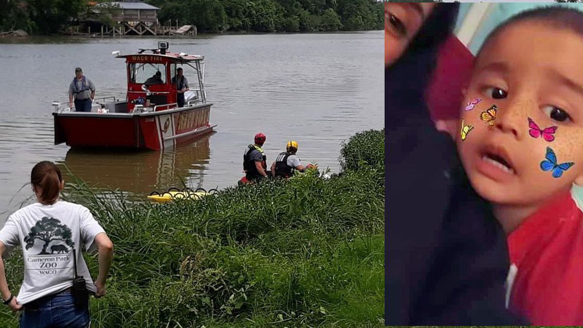 Waco Police and Fire search the Brazos River for Frankie Gonzalez, 2, on Tuesday. Gonzalez's body was later found in a dumpster near a church about 2 miles from the park where his mother reported him missing.
