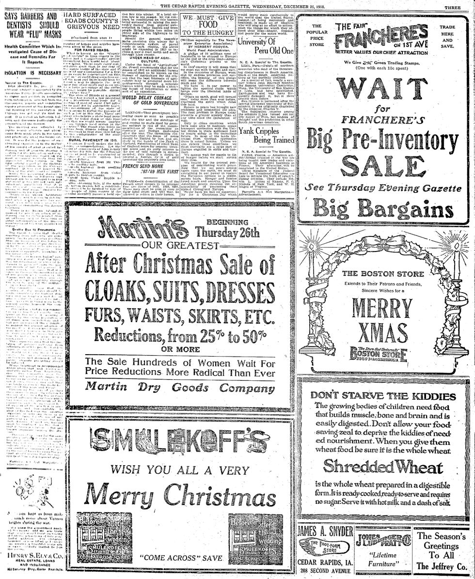 Newspaper from Christmas Day, 1918