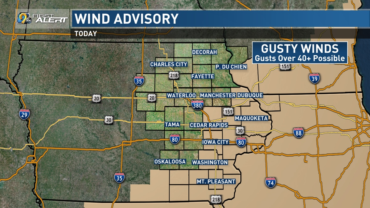 A Wind Advisory in effect for the highlighted counties on Sunday, Oct. 17, 2020.