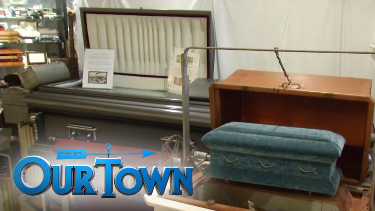 Caskets on display at the Iowa Funeral Museum and Educational Center in Marshalltown (Jordee...