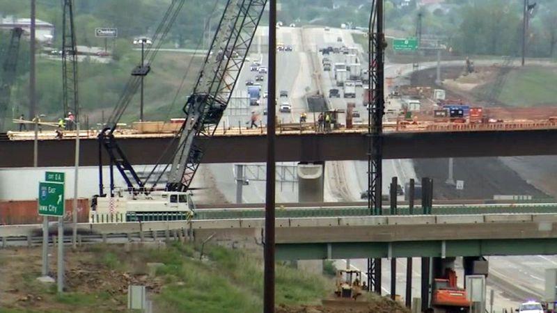 Construction crews work on upgrading the interchange between Interstate 80 and Interstate 380...