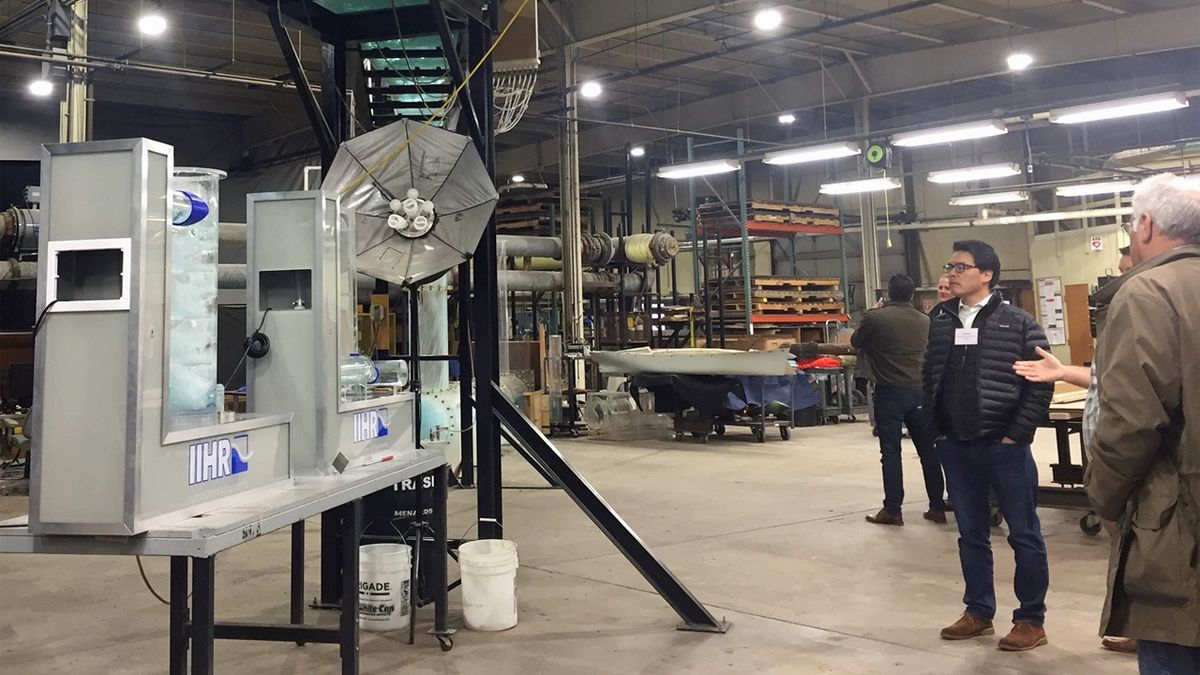 Officials observe equipment at the Iowa Flood Center on Wednesday, Jan. 8, 2020 (Jackie...