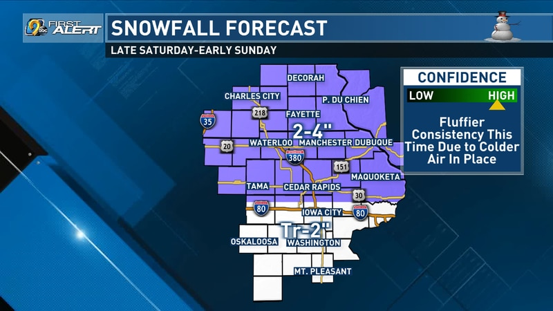 Snowfall Forecast for Saturday night and into Sunday morning. Last updated on January 22, 2021...