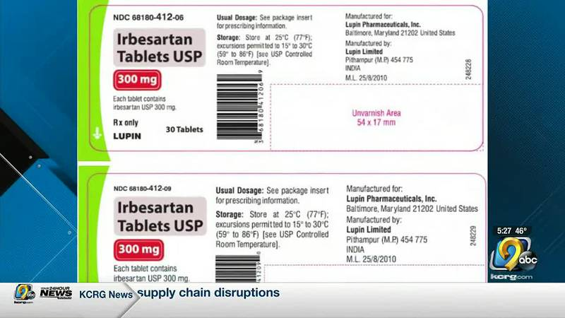 The FDA says two types of blood pressure medication are under a recall.