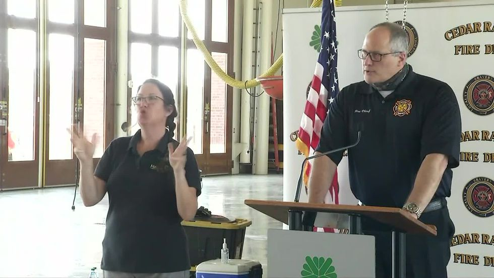 Cedar Rapids Fire Chief Greg Smith speaks at a briefing on storm recovery on Monday, August 24,...