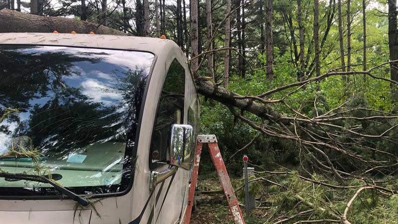 A tree lays on top of a trailer in Fontana County Park near Hazleton on Wednesday, August 25,...
