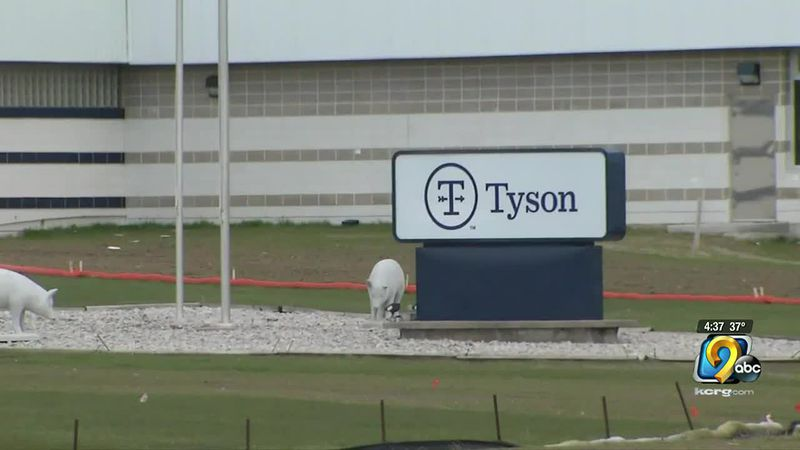 Sign at Tyson Foods' Waterloo plant.